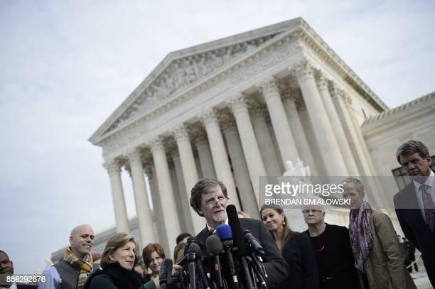 Jack Phillips owner of 'Masterpiece Cakeshop' in Lakewood Colorado speaks outside the US Supreme Court as Masterpiece Cakeshop vs Colorado Civil...