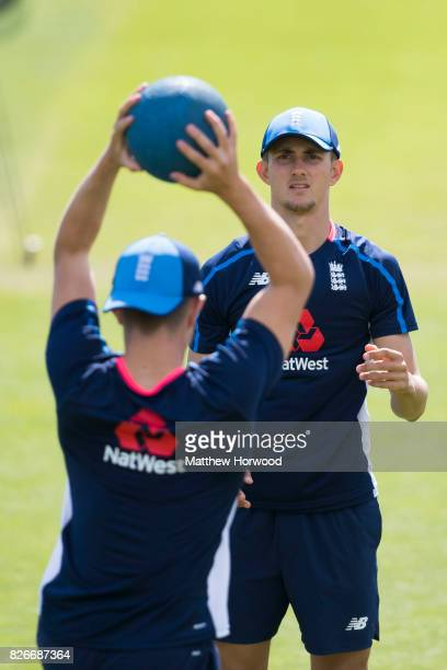 Jack Plom trains with Jack Blatherwick during England U19 cricket training at the SSE Swalec Stadium on August 5 2017 in Cardiff Wales The Royal...