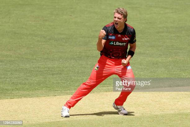 Jack Prestwidge of the Renegades celebrates the wicket of Jason Royof the Scorchers during the Big Bash League match between the Perth Scorchers and...