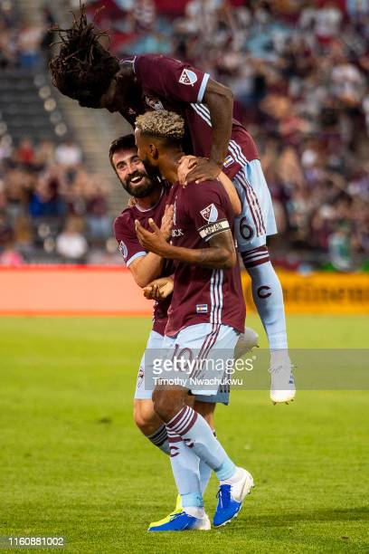 Jack Price Lalas Abubakar and Kellyn Acosta of the Colorado Rapids celebrate a goal by Acosta during the first half against the San Jose Earthquakes...