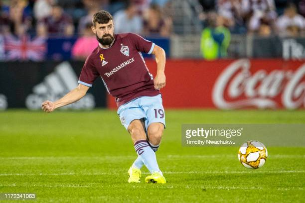 Jack Price of the Colorado Rapids attempts a pass against FC Dallas during the second half at Dick's Sporting Goods Park on September 29 2019 in...