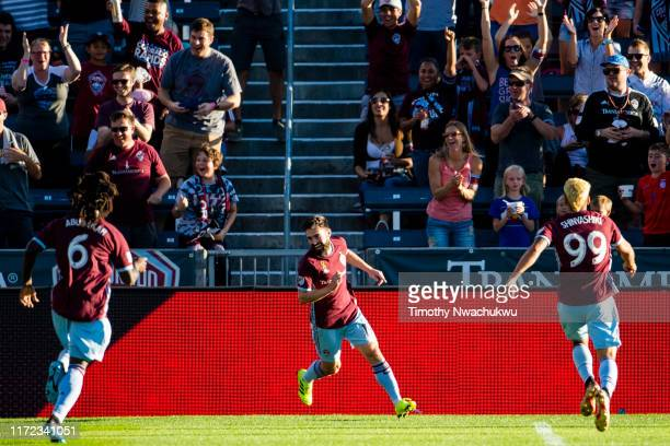 Jack Price of the Colorado Rapids center celebrates after scoring during the first half against FC Dallas at Dick's Sporting Goods Park on September...