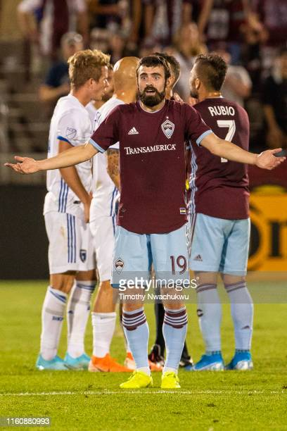 Jack Price of the Colorado Rapids reacts following a foul call during the second half against the San Jose Earthquakes at Dick's Sporting Goods Park...