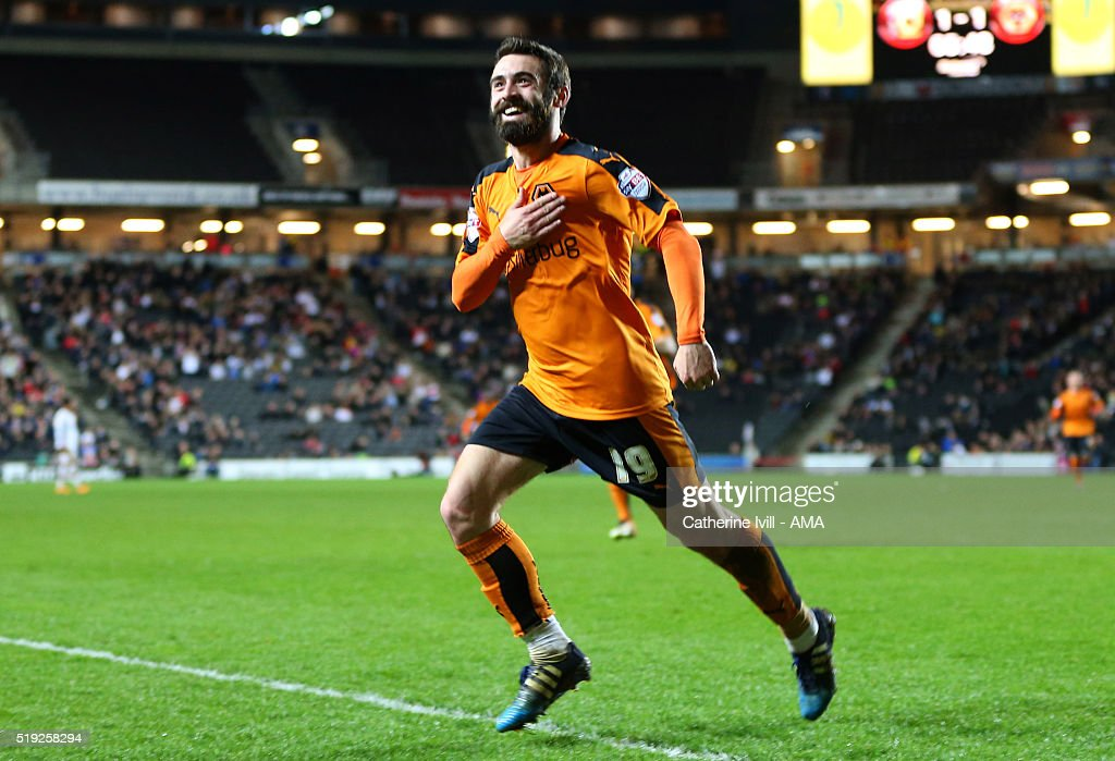 Jack Price of Wolverhampton Wanderers celebrates after he scores to make it 1-2 during the Sky Bet Championship match between MK Dons and Wolverhampton Wanderers at Stadium mk on April 5, 2016 in Milton Keynes, United Kingdom.
