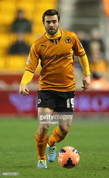 Jack Price of Wolves runs with the ball during the FA Cup First Round Replay match between Wolverhampton Wanderers and Oldham Athletic at Molineux on...
