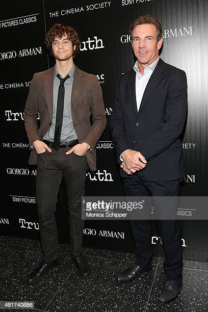 Jack Quaid and actor Dennis Quaid attend the screening of Sony Pictures Classics' Truth hosted by Giorgio Armani and The Cinema Society at Museum of...