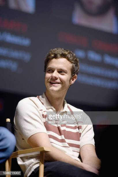 Jack Quaid speaks onstage at the Amazon's The Boys panel during New York Comic Con 2018 at Hammerstein Ballroom on October 5 2018 in New York City