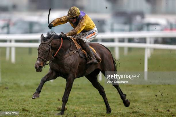 Jack Quinlan riding Kalashnikov clear the last to win The Betfair Hurdle Race at Newbury racecourse on February 10 2018 in Newbury England