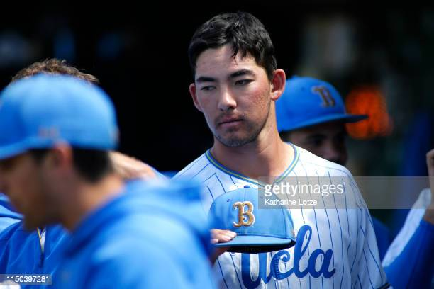Jack Ralston of UCLA looks on in the dugout during a baseball game against University of Washington at Jackie Robinson Stadium on May 19 2019 in Los...