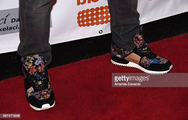 Jack Rayner shoe detail arrives at the World Choreography Awards at The Ricardo Montalban Theatre on November 16 2015 in Hollywood California