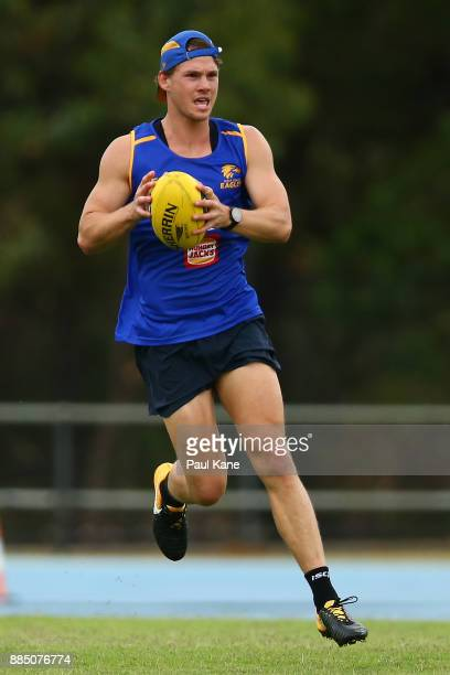 Jack Redden marks the ball during a West Coast Eagles AFL preseason training session at the WA Athletics Stadium on December 4 2017 in Perth Australia
