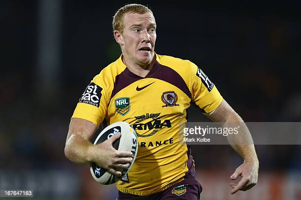 Jack Reed of the Broncos runs the ball during the round seven NRL match between the Wests Tigers and the Brisbane Broncos at Campbelltown Sports...
