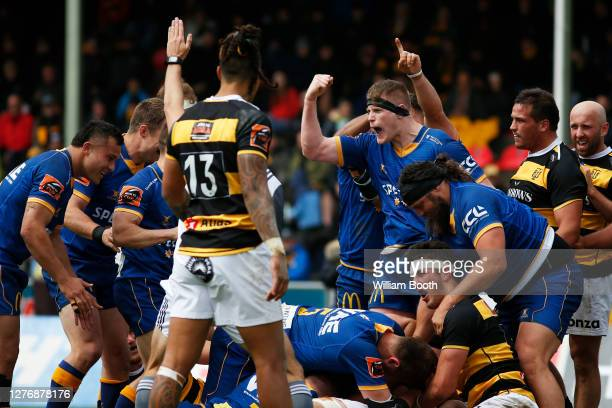 Jack Regan celebrates the try of Liam Coltman during the round 3 Mitre 10 Cup match between Taranaki and Otago at TET Stadium Events Centre on...