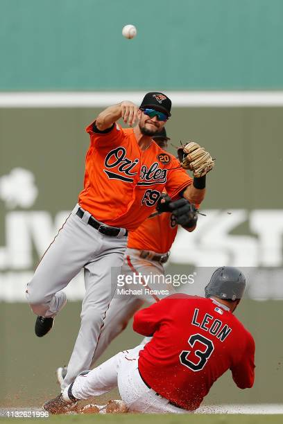 Jack Reinheimer of the Baltimore Orioles turns a double play against the Boston Red Sox during the Grapefruit League spring training game at JetBlue...