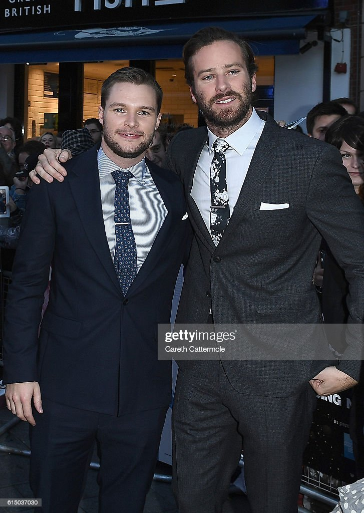 Jack Reynor and Armie Hammer attend the 'Free Fire' Closing Night Gala screening during the 60th BFI London Film Festival at Odeon Leicester Square on October 16, 2016 in London, England.