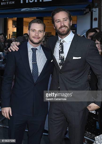 Jack Reynor and Armie Hammer attend the 'Free Fire' Closing Night Gala screening during the 60th BFI London Film Festival at Odeon Leicester Square...