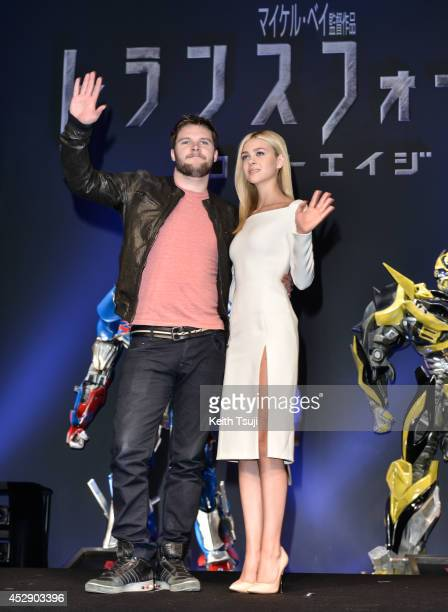 Jack Reynor and Nicola Peltz attend the press conference for Japan premiere of 'Transformers Age Of Extinction' at Tokyo Midtown on July 29 2014 in...
