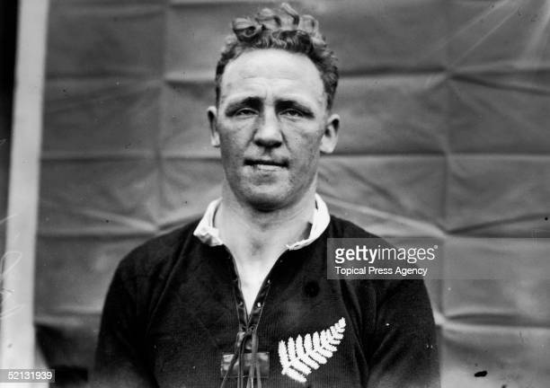 Jack Richardson Vice Captain of the New Zealand All Blacks wearing the team's fern logo September 1924
