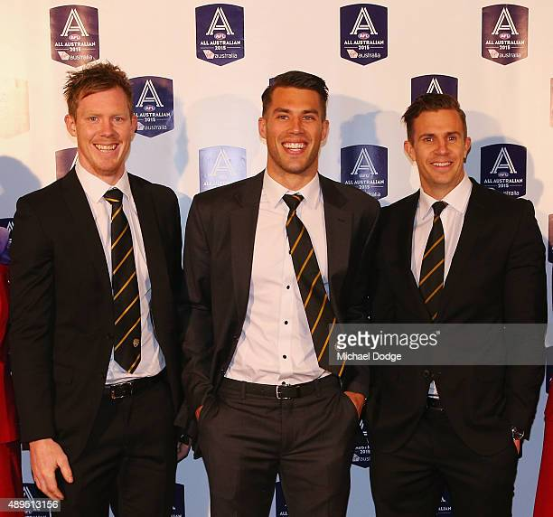 Jack Riewoldt Alex Rance and Brett Deledio of the Tigers pose during the 2015 All Australian Announcement at Royal Exhibition Buildings on September...