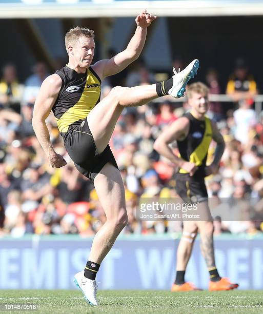 Jack Riewoldt kicks a goal during the round 21 AFL match between the Gold Coast Suns and the Richmond Tigers at Metricon Stadium on August 11 2018 in...