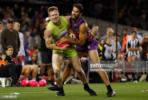 Jack Riewoldt of Team Rampage is tackled by Alex Rance of Team Flyers during the AFLX Grand Final match between Team Flyers and Team Rampage at...