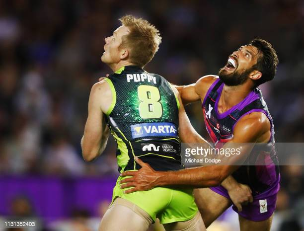 Jack Riewoldt of the Rampage competes for the ball against Alex Rance of the flyers team during the 2019 AFLX at Marvel Stadium on February 22 2019...