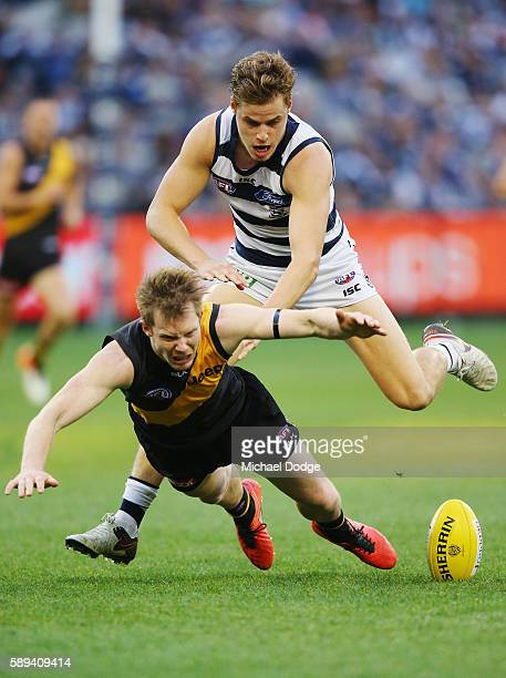 Jack Riewoldt of the Tigers and Jake Kolodjashnij of the Cats compete for the ball during the round 21 AFL match between the Richmond Tigers and the...
