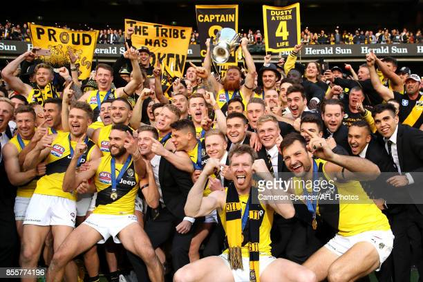 Jack Riewoldt of the Tigers and team mates celebrate after winning the 2017 AFL Grand Final match between the Adelaide Crows and the Richmond Tigers...
