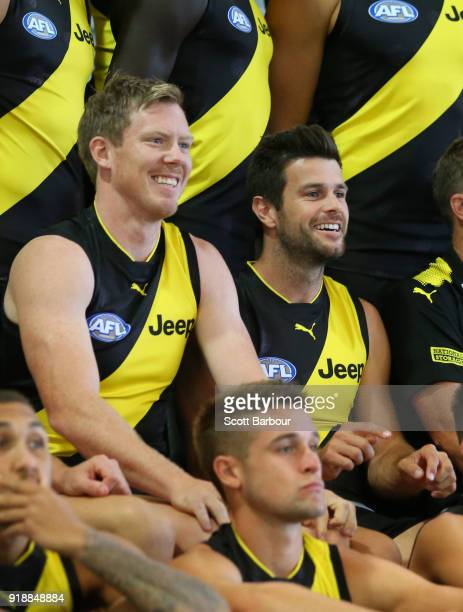 Jack Riewoldt of the Tigers and Trent Cotchin of the Tigers look on during a Richmond Tigers AFL team photo session at Punt Road Oval on February 16...