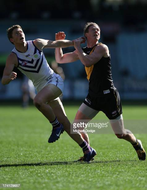 Jack Riewoldt of the Tigers and Zac Dawson of the Dockers contest for the ball during the round 17 AFL match between the Richmond Tigers and the...