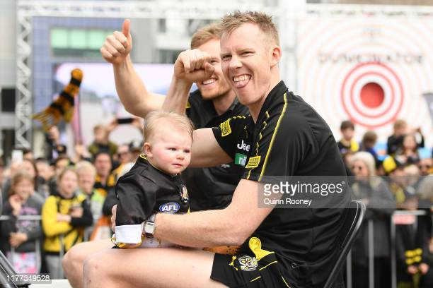 Jack Riewoldt of the Tigers attends the 2019 AFL Grand Final Parade on September 27, 2019 in Melbourne, Australia.