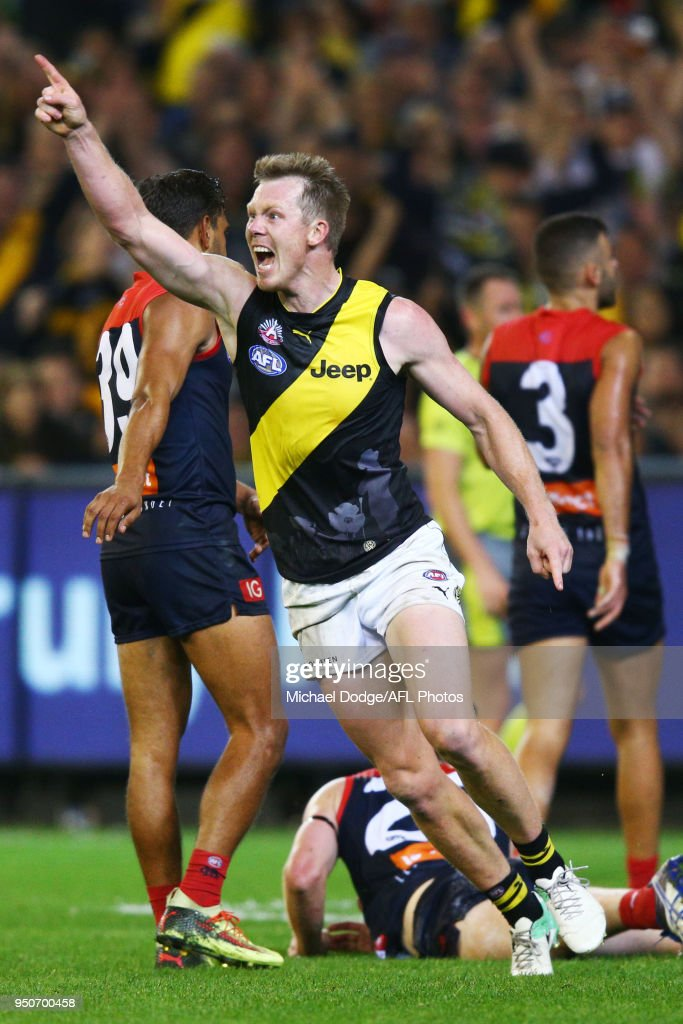 Jack Riewoldt of the Tigers celebrates a goal during the 2018 AFL round five match between the Melbourne Demons and the Richmond Tigers at the Melbourne Cricket Ground at Melbourne Cricket Ground on April 24, 2018 in Melbourne, Australia.