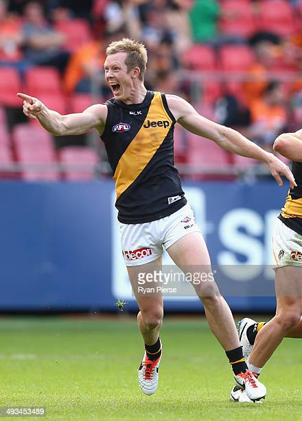 Jack Riewoldt of the Tigers celebrates a goal during the round 10 AFL match between the Greater Western Sydney Giants and the Richmond Tigers at...