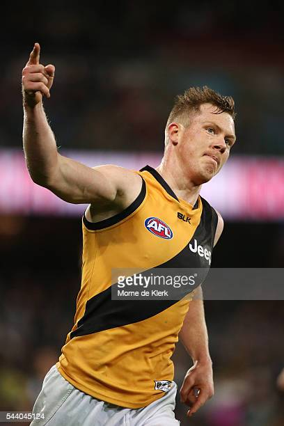 Jack Riewoldt of the Tigers celebrates a goal during the round 15 AFL match between the Port Adelaide Power and the Richmond Tigers at Adelaide Oval...