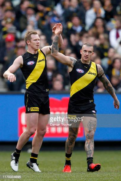 Jack Riewoldt of the Tigers celebrates a goal during the round 23 AFL match between the Richmond Tigers and the Brisbane Lions at Melbourne Cricket...