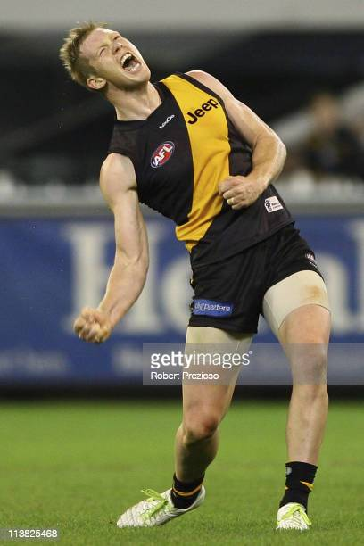 Jack Riewoldt of the Tigers celebrates after kicking a goal during the round seven AFL match between the Richmond Tigers and the fremantle Dockers at...