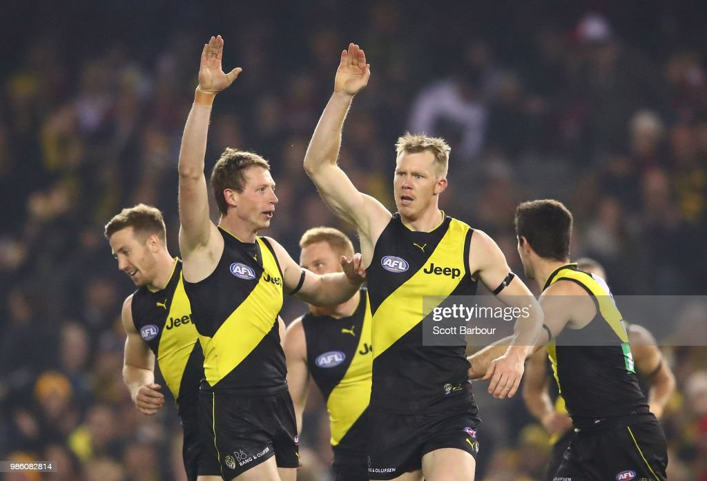 Jack Riewoldt of the Tigers celebrates after kicking a goal with Dylan Grimes of the Tigers during the round 15 AFL match between the Richmond Tigers and the Sydney Swans at Etihad Stadium on June 28, 2018 in Melbourne, Australia.