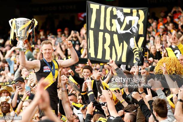Jack Riewoldt of the Tigers celebrates his team winning the 2019 AFL Grand Final match between the Richmond Tigers and the Greater Western Sydney...