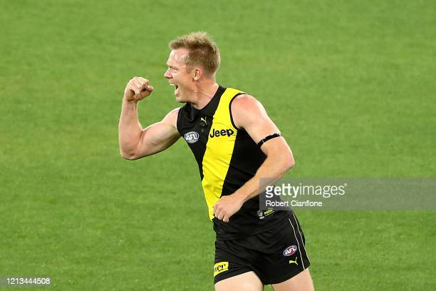 Jack Riewoldt of the Tigers celebrates kicking a goal during the round 1 AFL match between the Richmond Tigers and the Carlton Blues at Melbourne...