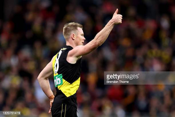 Jack Riewoldt of the Tigers celebrates kicking a goal during the round 11 AFL match between the Richmond Tigers and the Adelaide Crows at GIANTS...