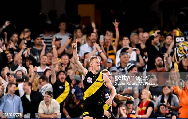 Jack Riewoldt of the Tigers celebrates kicking a goal during the 2020 AFL Grand Final match between the Richmond Tigers and the Geelong Cats at The...