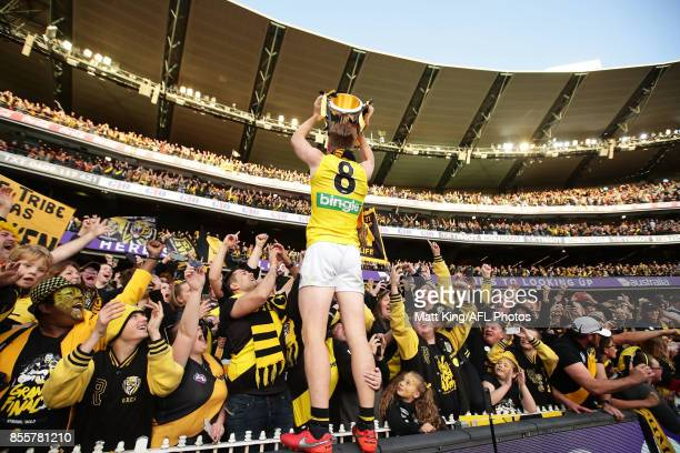 Jack Riewoldt of the Tigers celebrates victory after the 2017 AFL Grand Final match between the Adelaide Crows and the Richmond Tigers at Melbourne...