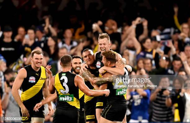 Jack Riewoldt of the Tigers celebrates with team mates after kicking a goal during the 2020 AFL Grand Final match between the Richmond Tigers and the...