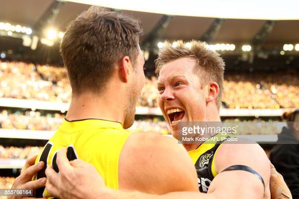 Jack Riewoldt of the Tigers celebrates with team mates after winning the 2017 AFL Grand Final match between the Adelaide Crows and the Richmond...
