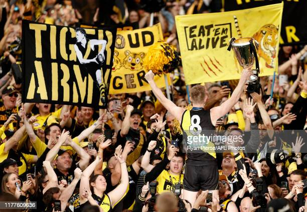 Jack Riewoldt of the Tigers celebrates with the Premiership Cup after the 2019 AFL Grand Final match between the Richmond Tigers and the Greater...