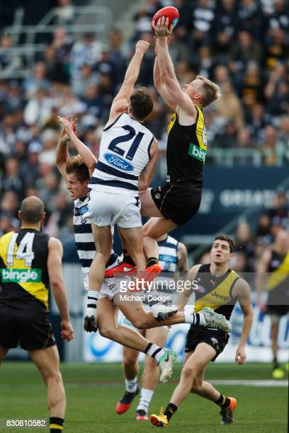 Jack Riewoldt of the Tigers compete for the ball against Jordan Murdoch of the Cats during the round 21 AFL match between the Geelong Cats and the...