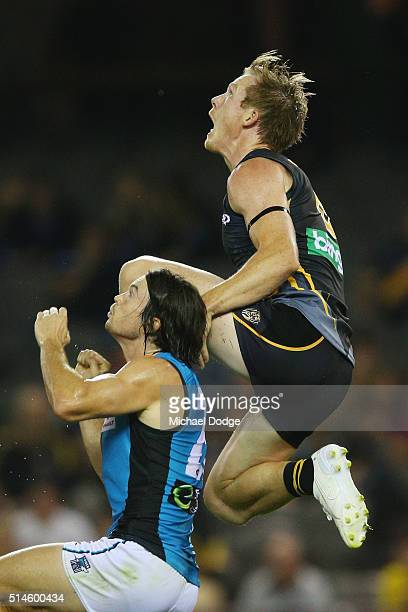 Jack Riewoldt of the Tigers compete for the ball over Jasper Pittard of the Power during the 2016 AFL NAB Challenge match between the Richmond Tigers...