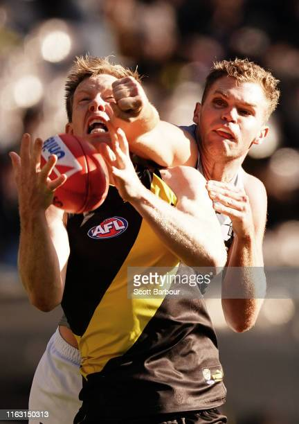 Jack Riewoldt of the Tigers competes for the ball during the round 18 AFL match between the Richmond Tigers and the Port Adelaide Power at Melbourne...