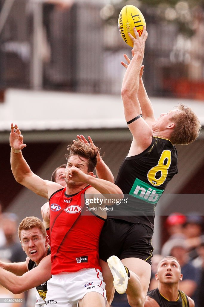 Jack Riewoldt of the Tigers flies for a mark during the JLT Community Series AFL match between the Essendon Bombers and the Richmond Tigers at Norm Minns Oval on February 24, 2018 in Wangaratta, Australia.
