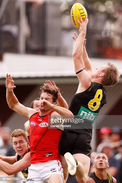 Jack Riewoldt of the Tigers flies for a mark during the JLT Community Series AFL match between the Essendon Bombers and the Richmond Tigers at Norm...